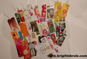 Homemade bookmarks from cards