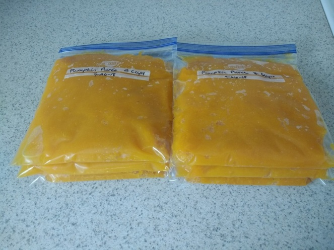 pumpkin puree prepared to freeze