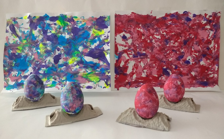 Easter Project with Painted Eggs and Paper